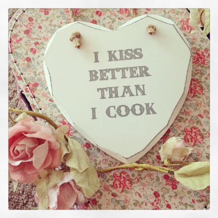 50% OFF I Kiss Better Than I Cook Hanging Wooden Heart
